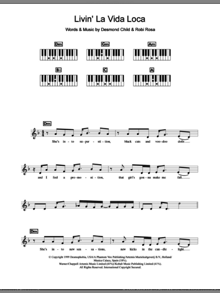 Livin' La Vida Loca sheet music for piano solo (chords, lyrics, melody) by Robi Rosa, Ricky Martin and Desmond Child. Score Image Preview.