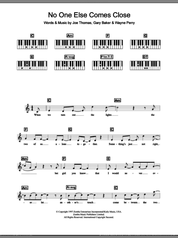 No One Else Comes Close sheet music for piano solo (chords, lyrics, melody) by Wayne Perry, Backstreet Boys and Gary Baker. Score Image Preview.