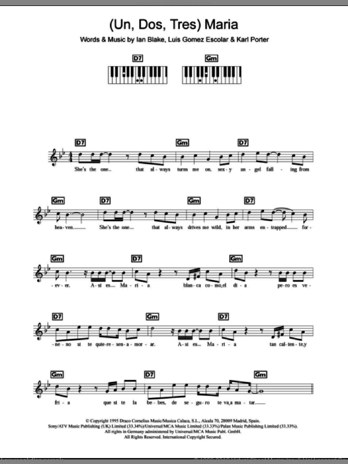 (Un, Dos, Tres) Maria sheet music for piano solo (chords, lyrics, melody) by Ricky Martin, Ian Blake, Karl Porter and Luis Gomez Escolar, intermediate piano (chords, lyrics, melody). Score Image Preview.