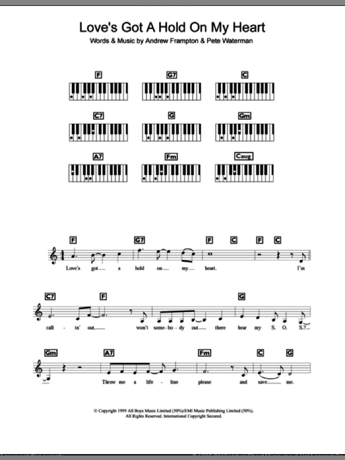 Love's Got A Hold On My Heart sheet music for piano solo (chords, lyrics, melody) by Steps and Andrew Frampton, intermediate piano (chords, lyrics, melody). Score Image Preview.
