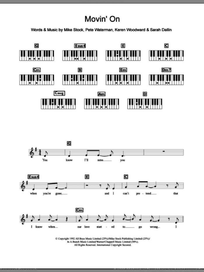 Movin' On sheet music for piano solo (chords, lyrics, melody) by Steps