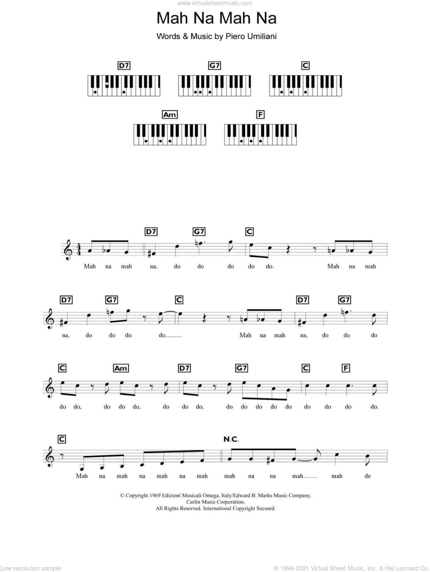 Mah Na Mah Na sheet music for piano solo (chords, lyrics, melody) by Piero Umiliani and The Muppets. Score Image Preview.