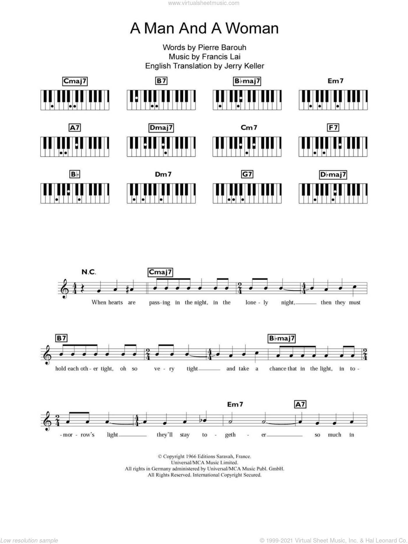 A Man And A Woman (Un Homme Et Une Femme) sheet music for piano solo (chords, lyrics, melody) by Francis Lai and Pierre Barouh, intermediate piano (chords, lyrics, melody). Score Image Preview.