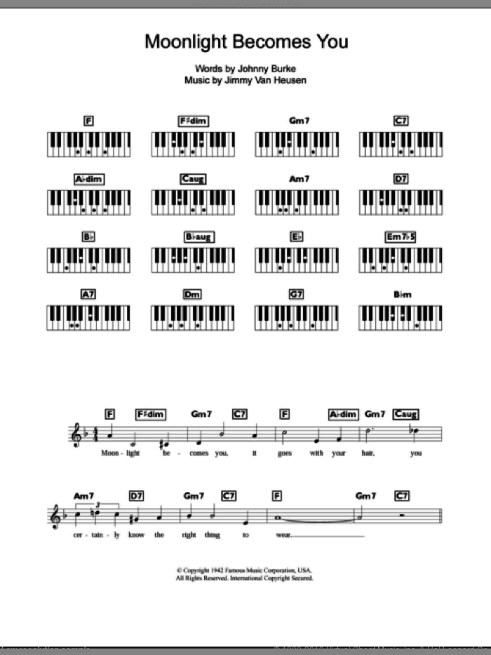 Moonlight Becomes You sheet music for piano solo (chords, lyrics, melody) by Bing Crosby, Jimmy van Heusen and John Burke, intermediate piano (chords, lyrics, melody)