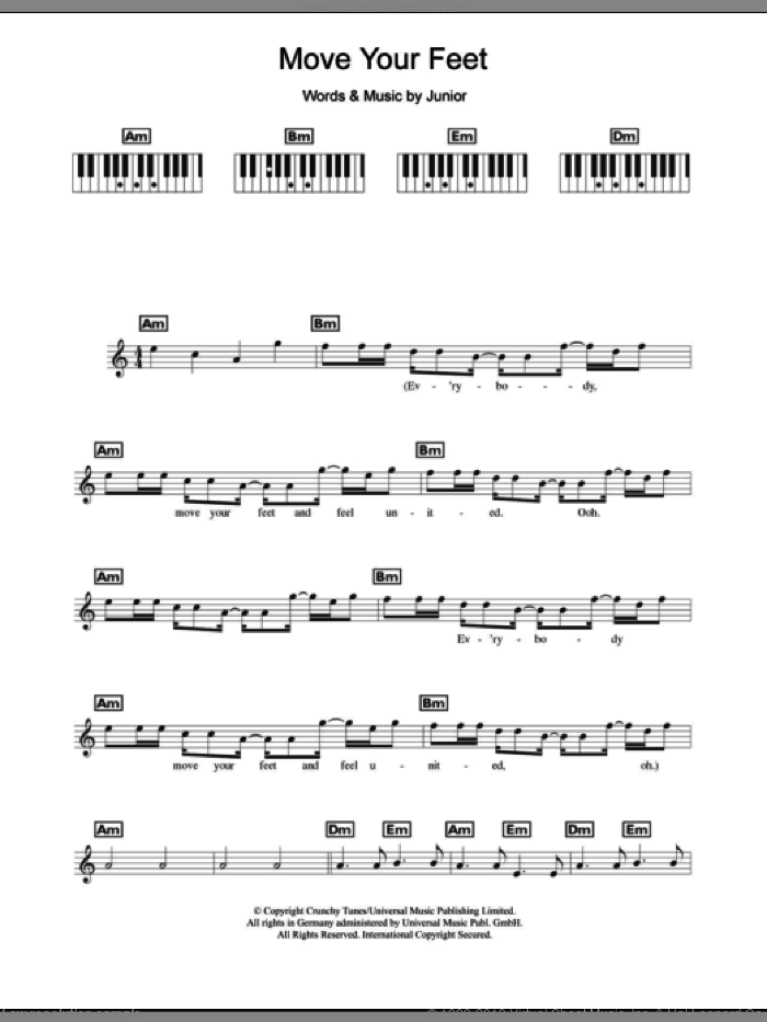 Move Your Feet sheet music for piano solo (chords, lyrics, melody) by Junior Senior and Junior, intermediate piano (chords, lyrics, melody)