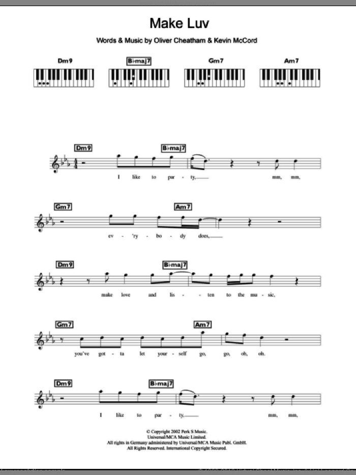 Make Luv sheet music for piano solo (chords, lyrics, melody) by Oliver Cheatham and Kevin McCord. Score Image Preview.