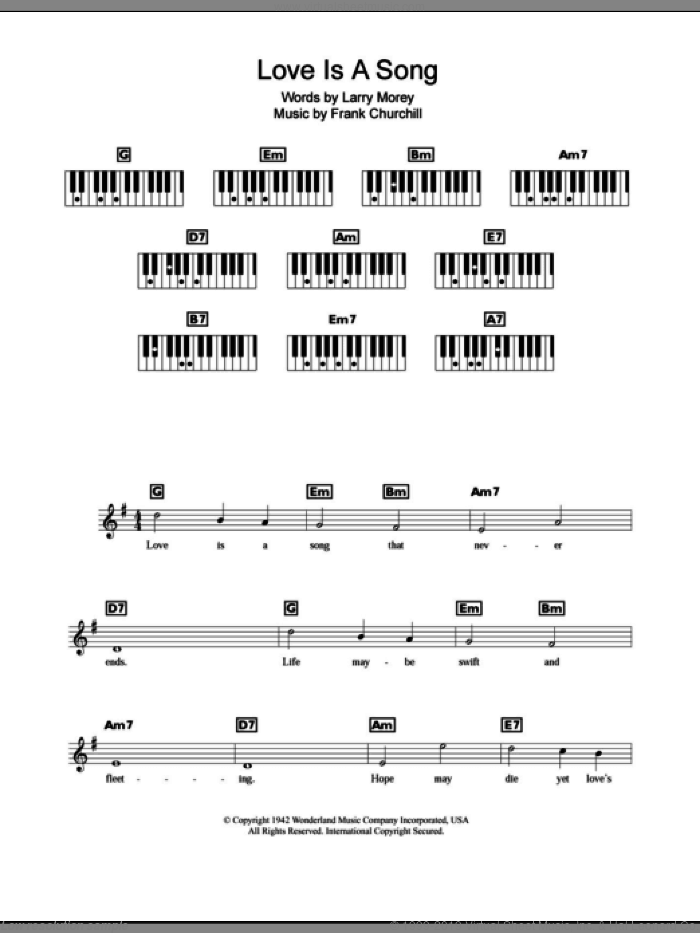 Love Is A Song (from Walt Disney's Bambi) sheet music for piano solo (chords, lyrics, melody) by Larry Morey and Frank Churchill. Score Image Preview.