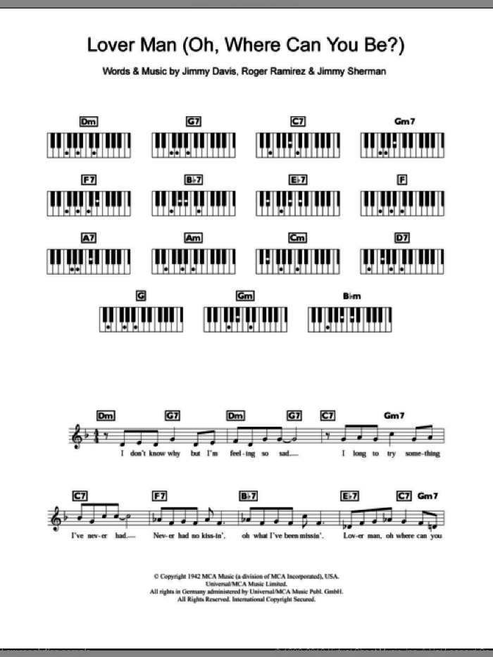 Lover Man (Oh, Where Can You Be?) sheet music for piano solo (chords, lyrics, melody) by Roger Ramirez, Billie Holiday and Jimmie Davis. Score Image Preview.
