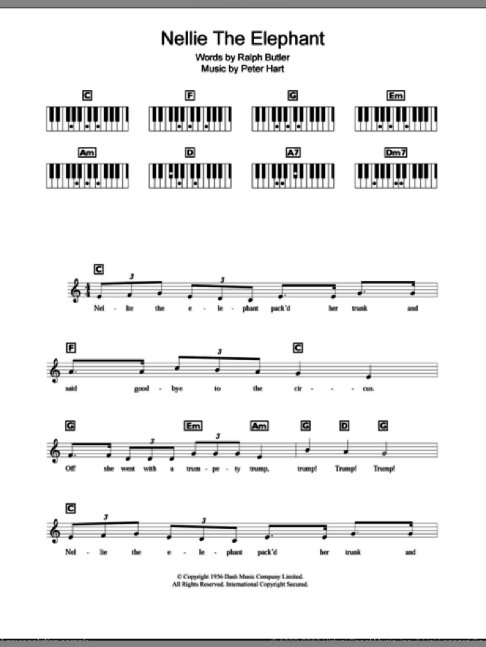 Nellie The Elephant sheet music for piano solo (chords, lyrics, melody) by Ralph Butler and Peter Hart. Score Image Preview.