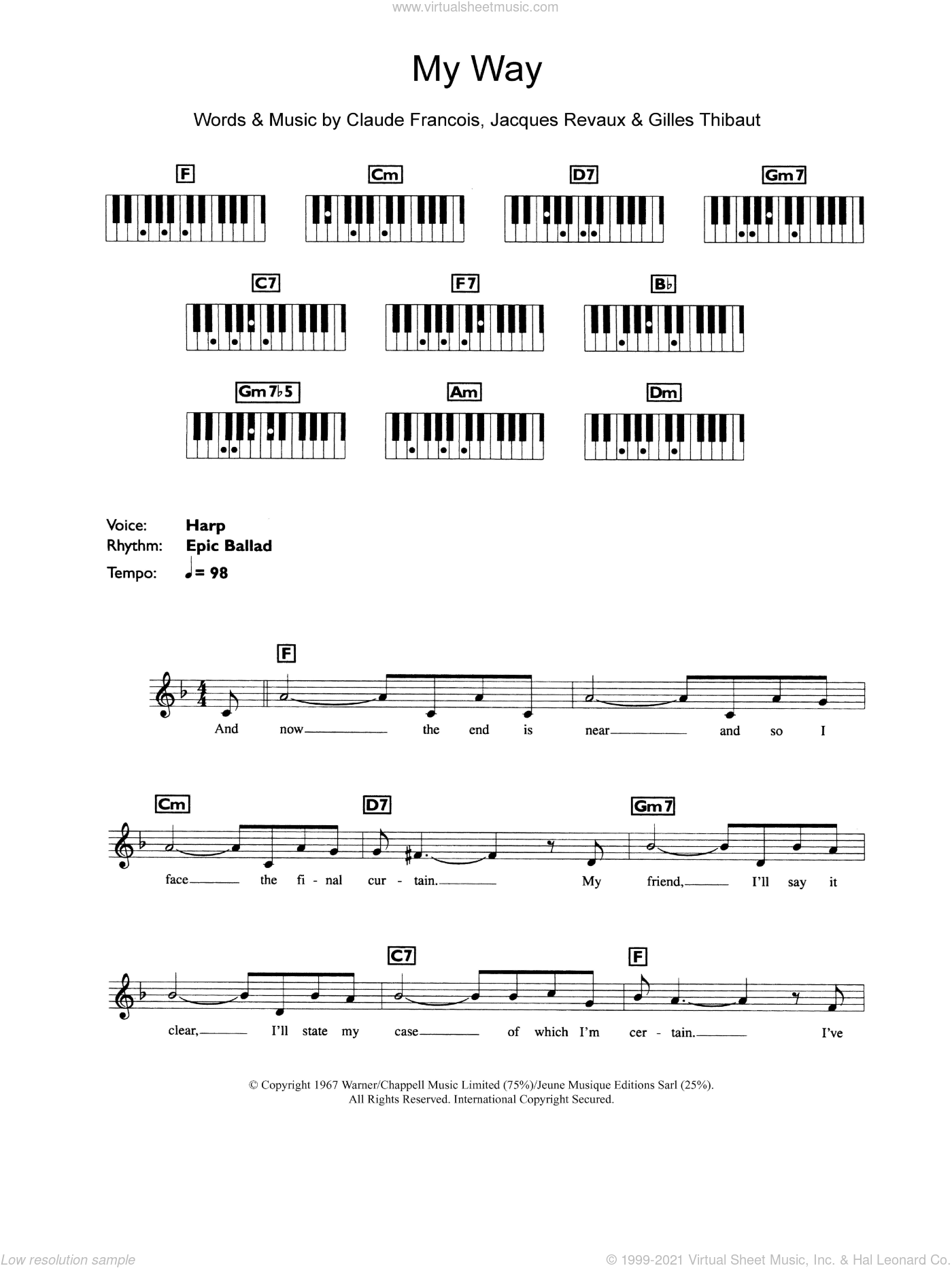 My Way sheet music for piano solo (chords, lyrics, melody) by Frank Sinatra, Claude Francois, Gilles Thibaut and Jacques Revaux, intermediate piano (chords, lyrics, melody)