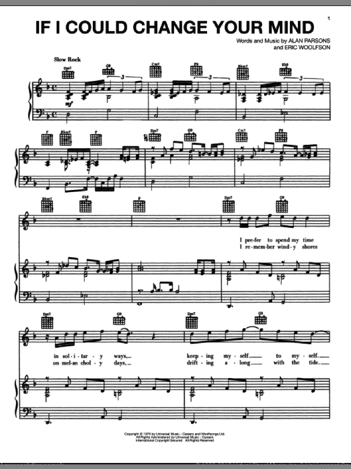 If I Could Change Your Mind sheet music for voice, piano or guitar by Eric Woolfson
