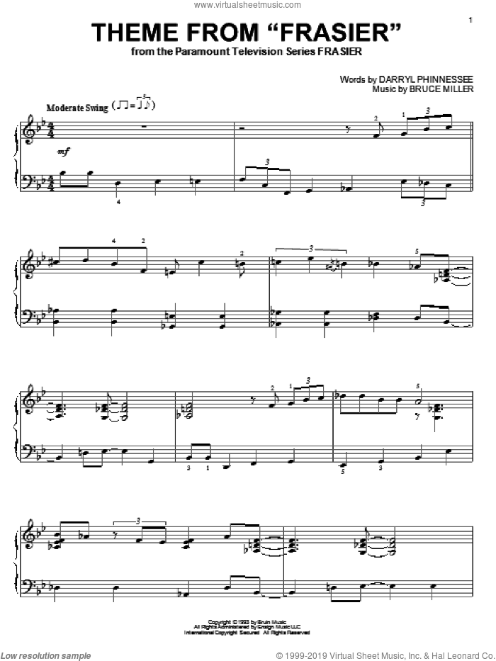Theme From Frasier sheet music for piano solo by Bruce Miller. Score Image Preview.