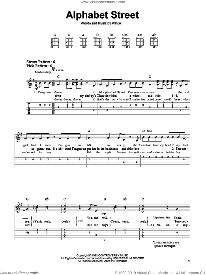 Alphabet Street sheet music for guitar solo (easy tablature) by Prince, easy guitar (easy tablature)