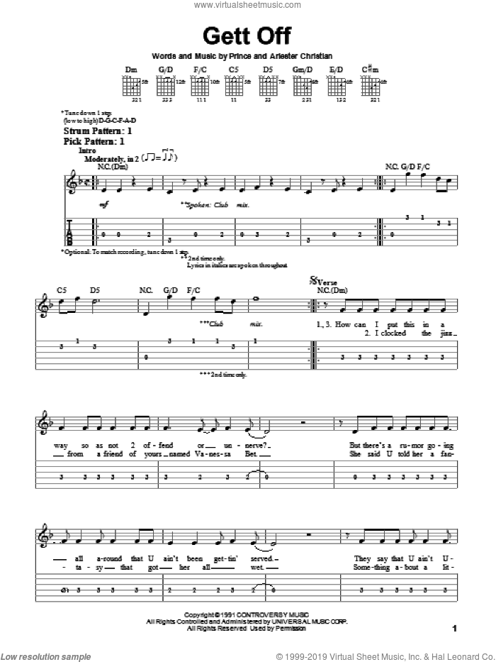 Gett Off sheet music for guitar solo (easy tablature) by Prince and Arlester Christian, easy guitar (easy tablature)