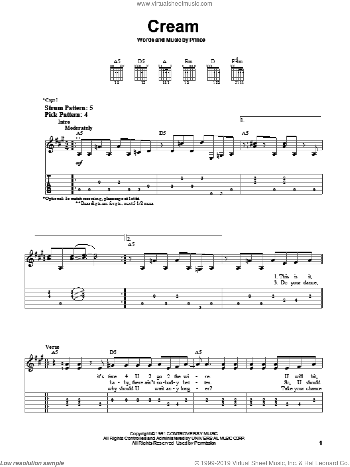 Cream sheet music for guitar solo (easy tablature) by Prince, easy guitar (easy tablature)