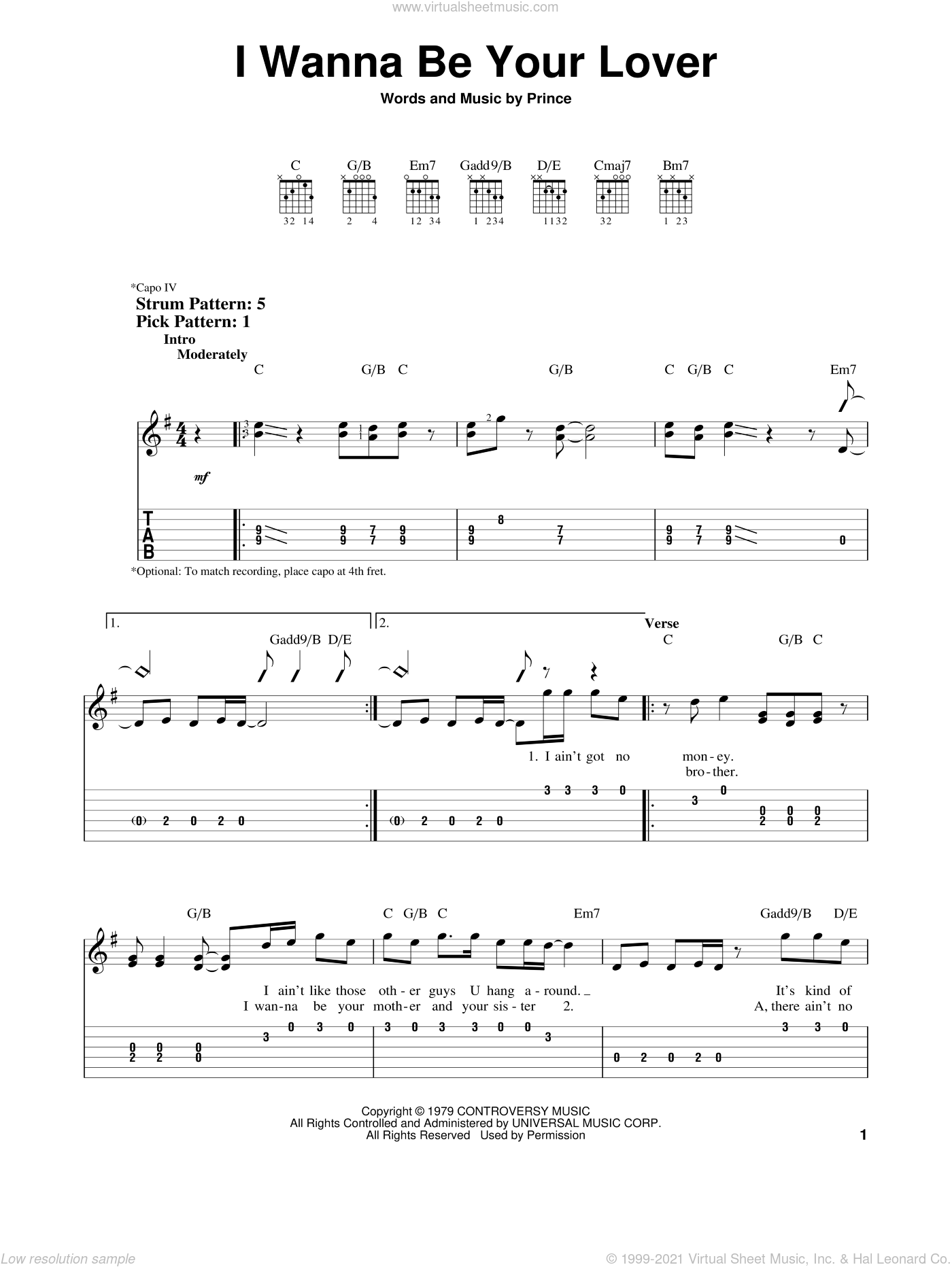 I Wanna Be Your Lover sheet music for guitar solo (easy tablature) by Prince, easy guitar (easy tablature)