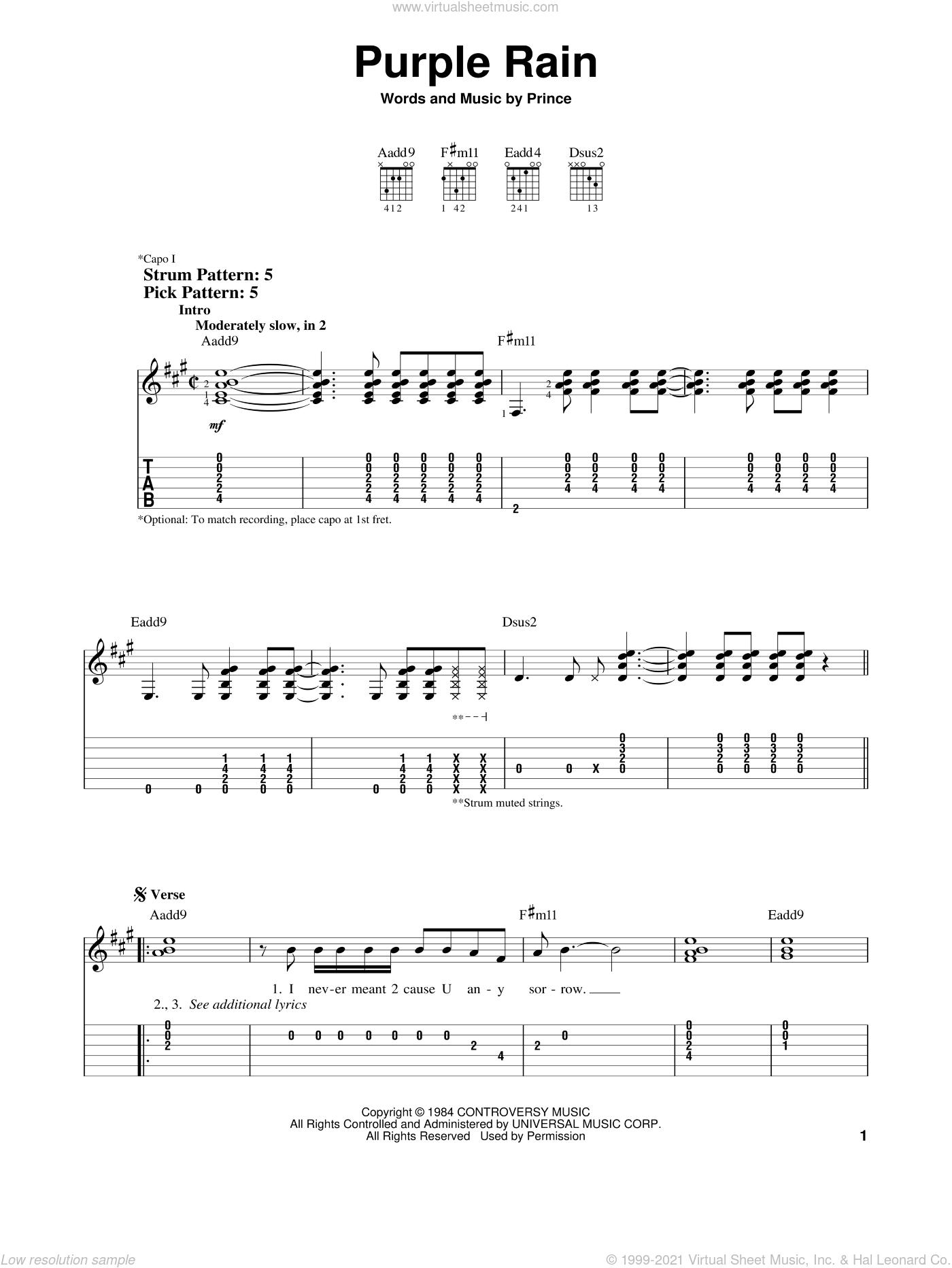 Purple Rain sheet music for guitar solo (easy tablature) by Prince, easy guitar (easy tablature)