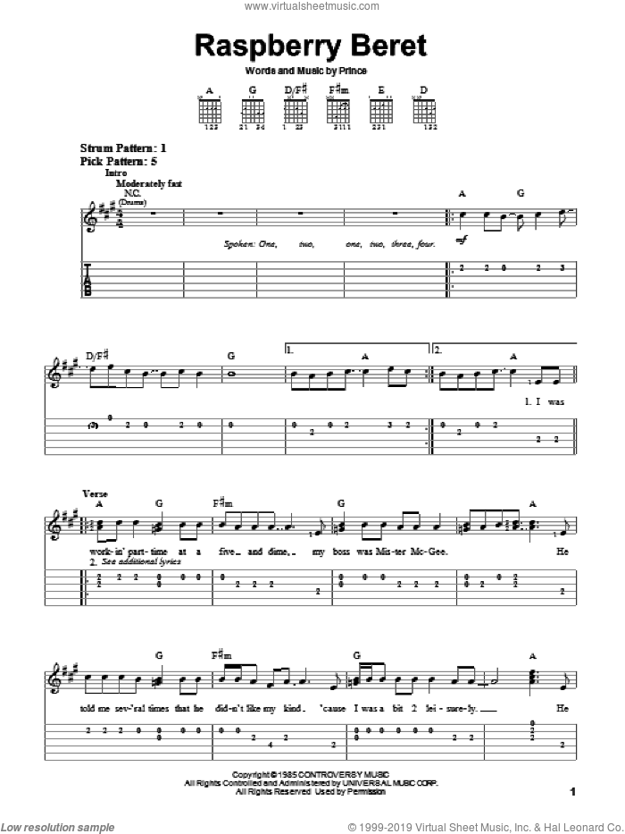 Raspberry Beret sheet music for guitar solo (easy tablature) by Prince, easy guitar (easy tablature)