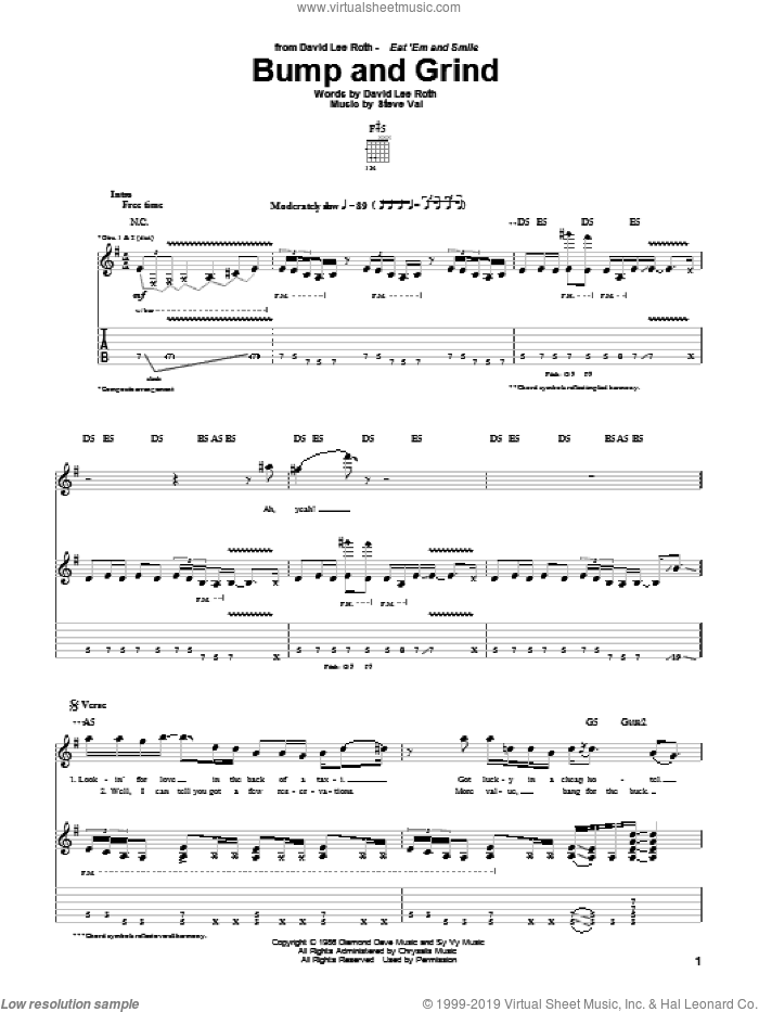 Bump And Grind sheet music for guitar (tablature) by David Lee Roth and Steve Vai. Score Image Preview.