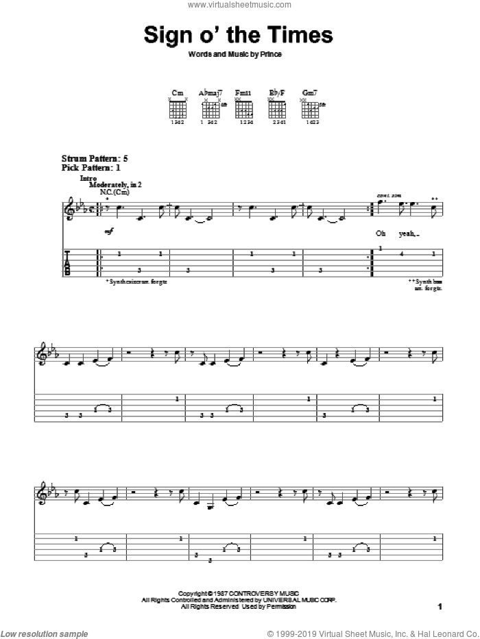 Sign O' The Times sheet music for guitar solo (easy tablature) by Prince, easy guitar (easy tablature)