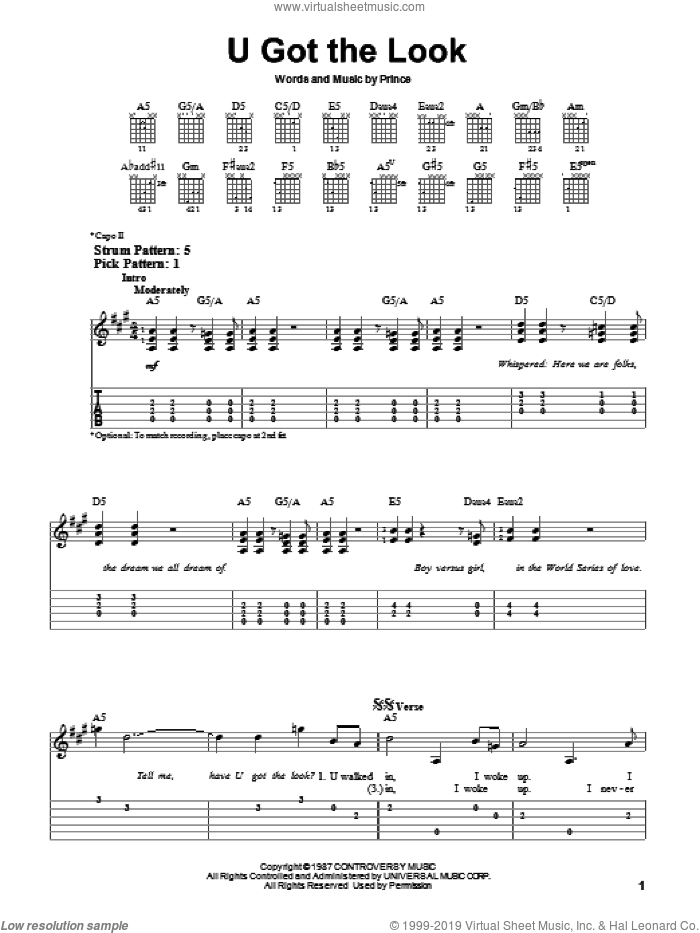 U Got The Look sheet music for guitar solo (easy tablature) by Prince, easy guitar (easy tablature)