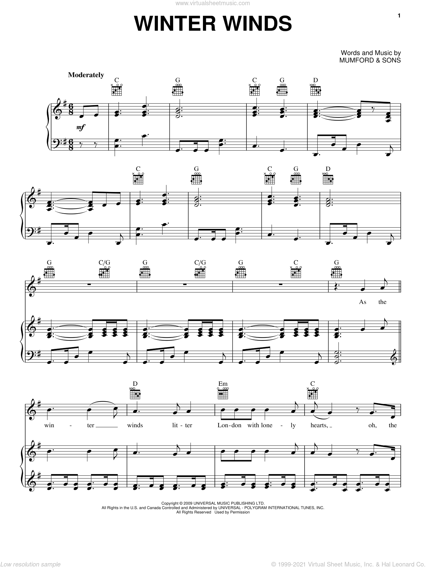 Winter Winds sheet music for voice, piano or guitar by Mumford & Sons, intermediate skill level