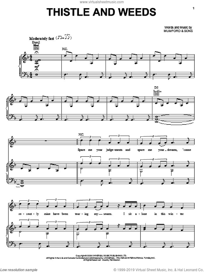 Thistle And Weeds sheet music for voice, piano or guitar by Mumford & Sons, intermediate skill level