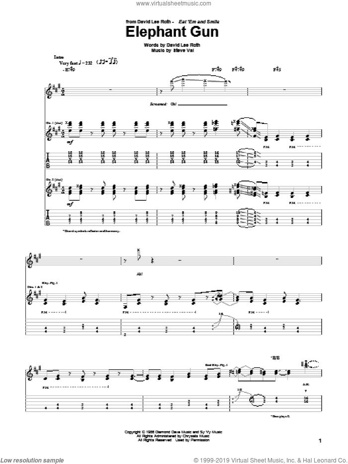 Elephant Gun sheet music for guitar (tablature) by David Lee Roth and Steve Vai, intermediate