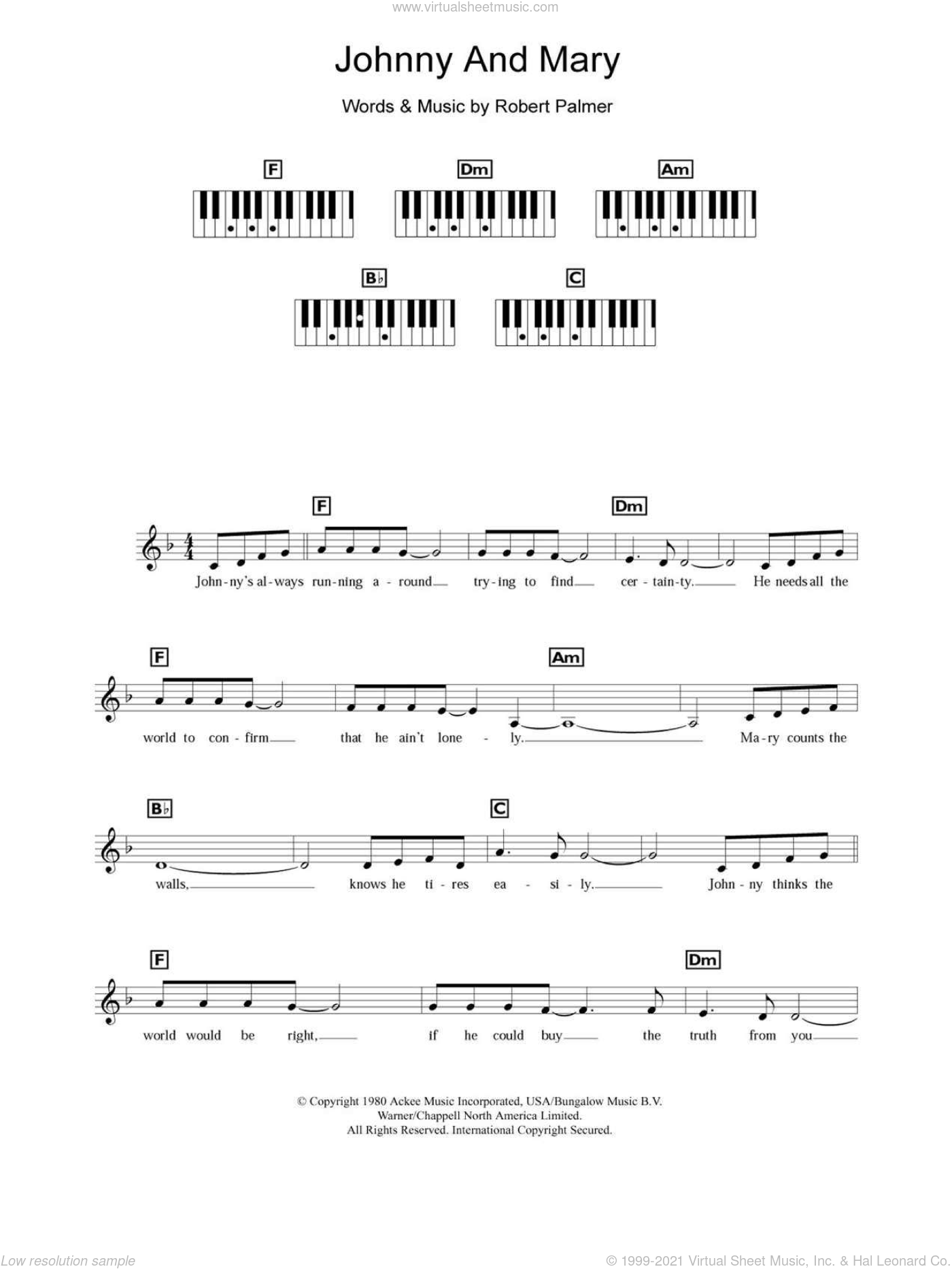 Johnny And Mary sheet music for piano solo (chords, lyrics, melody) by Robert Palmer, intermediate piano (chords, lyrics, melody). Score Image Preview.