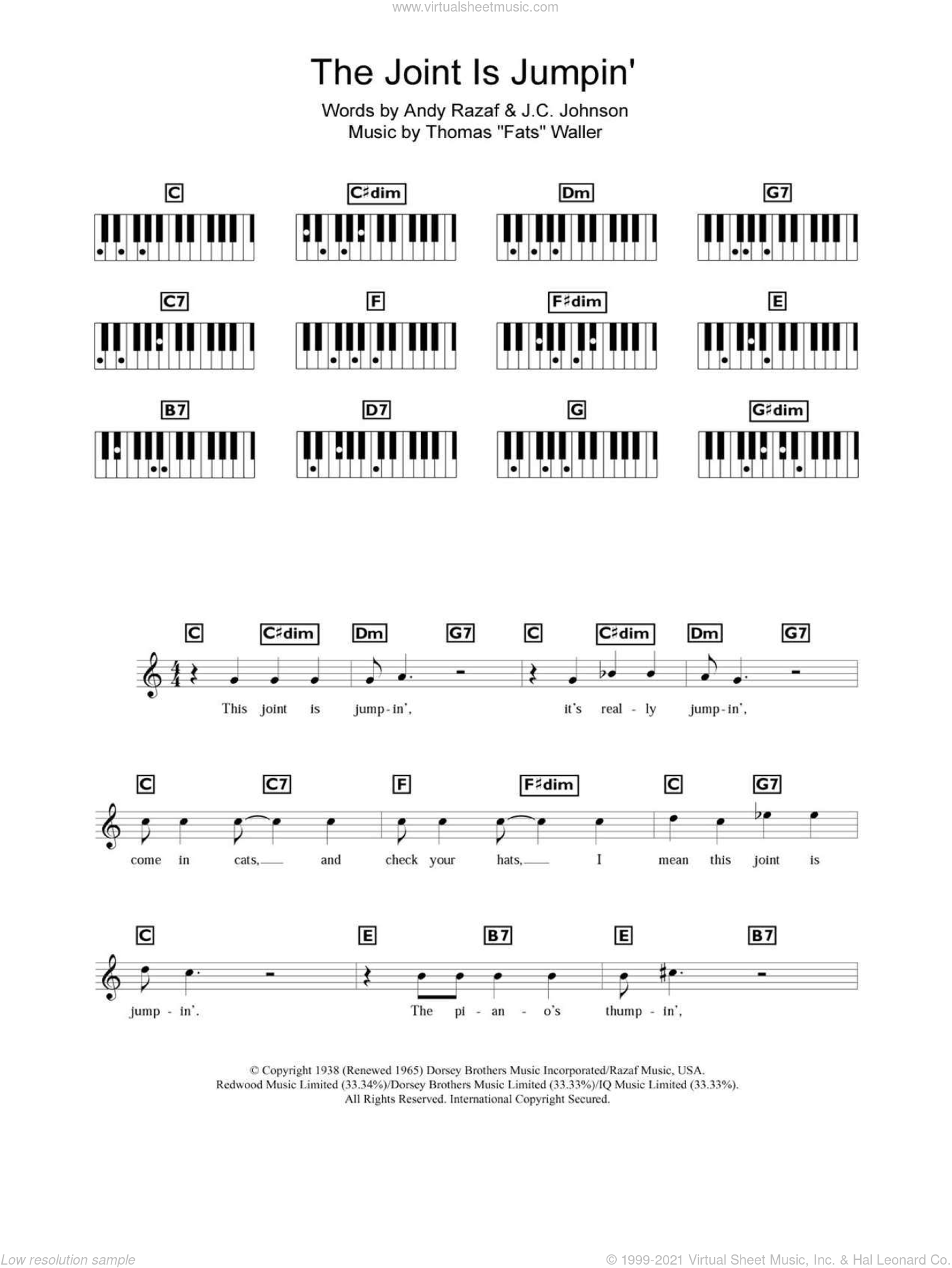 The Joint Is Jumpin' sheet music for piano solo (chords, lyrics, melody) by Andy Razaf, Thomas Waller, Thomas Waller and J.C. Johnson, intermediate piano (chords, lyrics, melody)