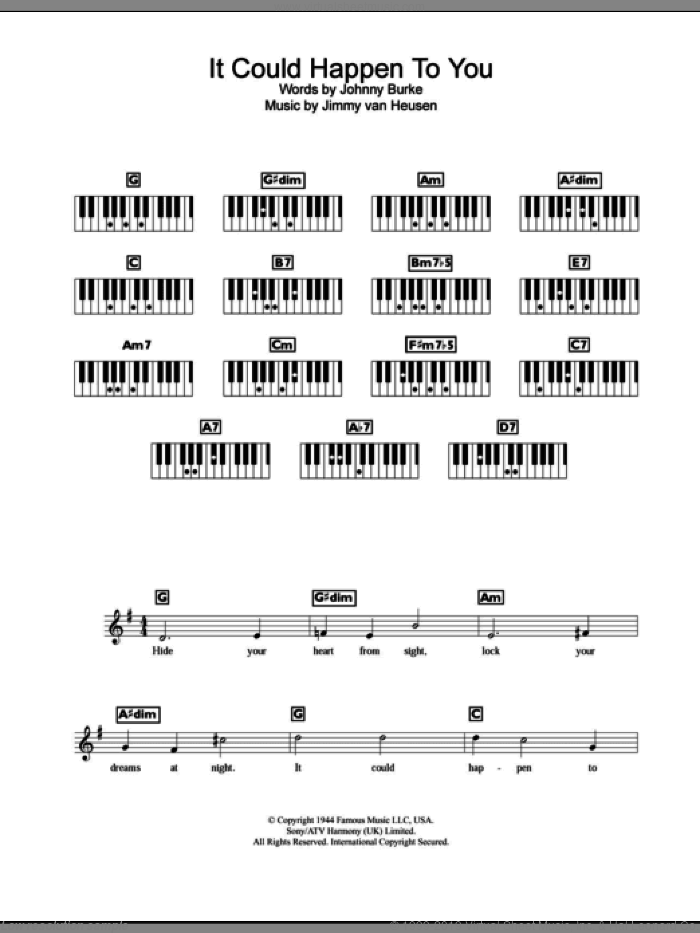 It Could Happen To You sheet music for piano solo (chords, lyrics, melody) by John Burke and Jimmy van Heusen. Score Image Preview.