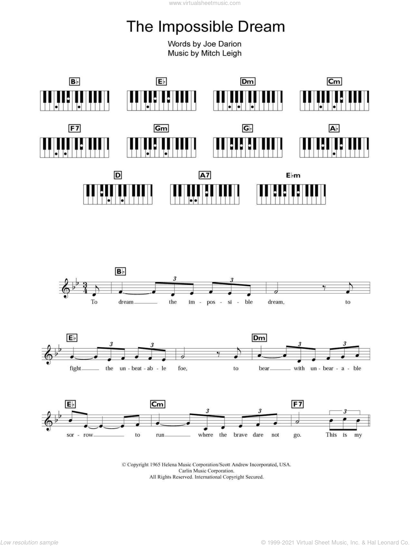 The Impossible Dream sheet music for piano solo (chords, lyrics, melody) by Andy Williams, Man Of La Mancha (Musical), Joe Darion and Mitch Leigh, intermediate piano (chords, lyrics, melody)