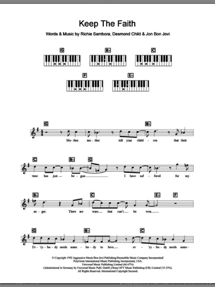 Jovi - Keep The Faith sheet music for piano solo (chords, lyrics ...