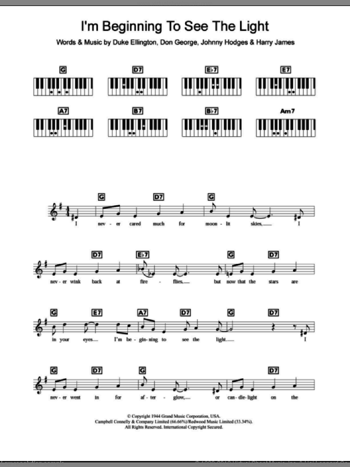 I'm Beginning To See The Light sheet music for piano solo (chords, lyrics, melody) by Duke Ellington, Clare Teal, Frank Sinatra, Don George, Harry James and Johnny Hodges, intermediate piano (chords, lyrics, melody). Score Image Preview.