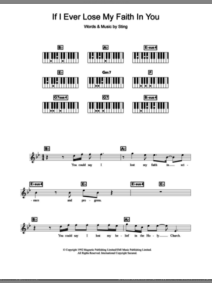 If I Ever Lose My Faith In You sheet music for piano solo (chords, lyrics, melody) by Sting