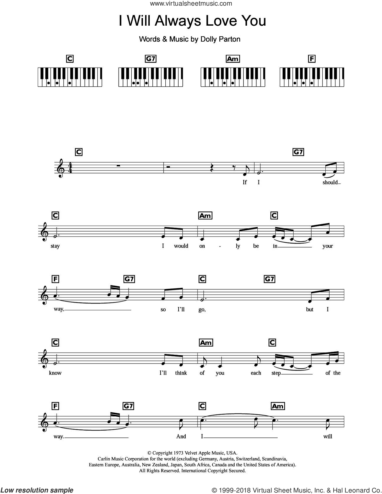 I Will Always Love You sheet music for piano solo (keyboard) by Dolly Parton and Whitney Houston, intermediate piano (keyboard). Score Image Preview.