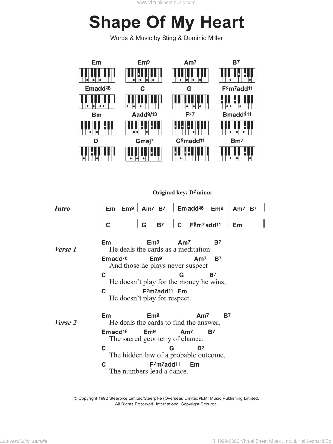 Shape Of My Heart sheet music for piano solo (chords, lyrics, melody) by Sting, The Sugababes and Dominic Miller, intermediate piano (chords, lyrics, melody)