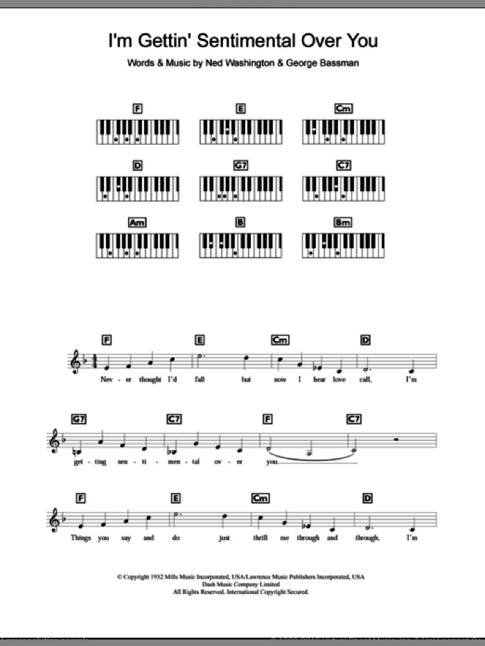 I'm Gettin' Sentimental Over You sheet music for piano solo (chords, lyrics, melody) by Frank Sinatra, George Bassman and Ned Washington, intermediate piano (chords, lyrics, melody). Score Image Preview.