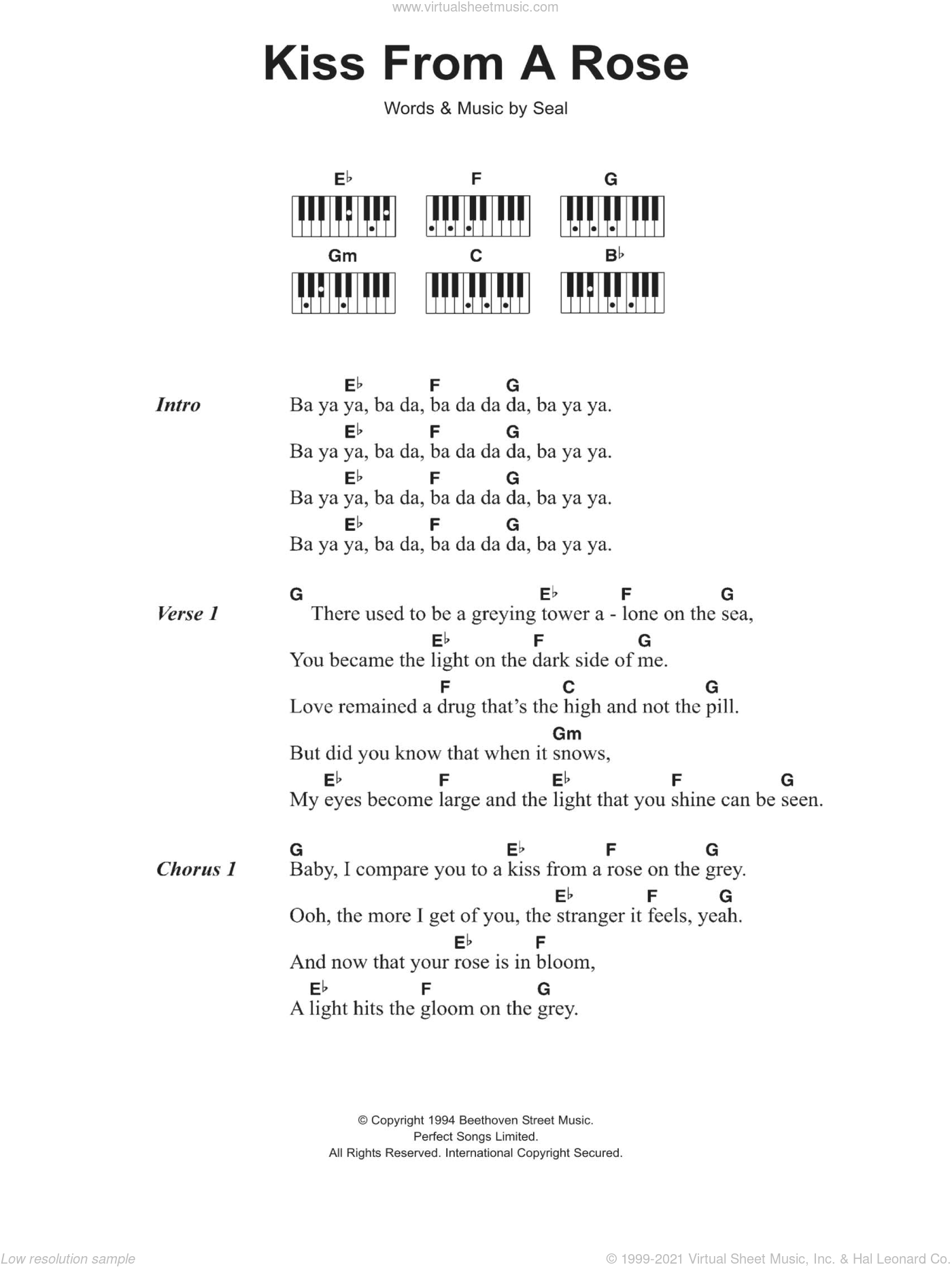 Kiss From A Rose sheet music for piano solo (chords, lyrics, melody) by Manuel Seal, intermediate piano (chords, lyrics, melody)
