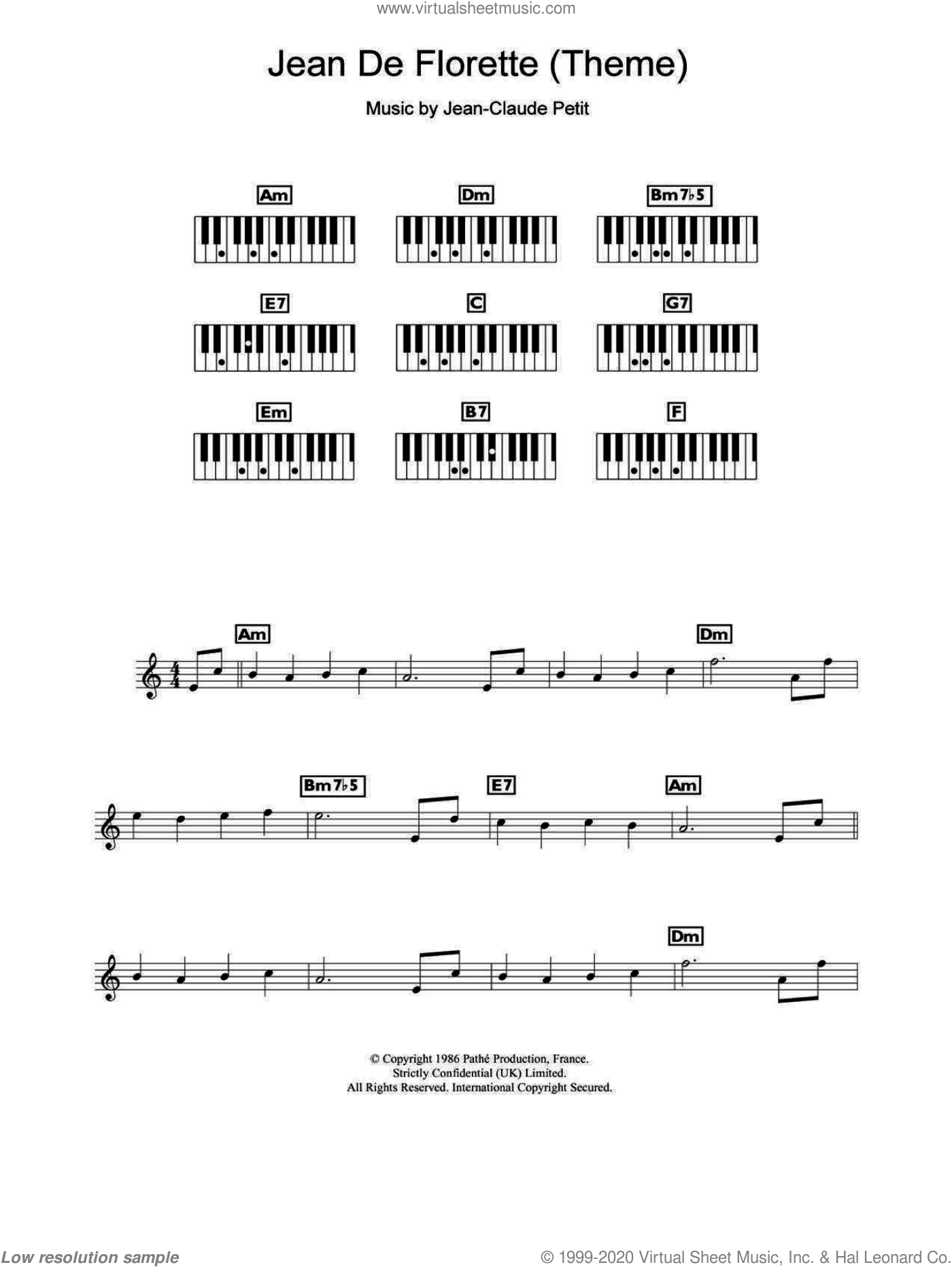 Jean de Florette (Theme) sheet music for piano solo (chords, lyrics, melody) by Jean-claude Petit. Score Image Preview.