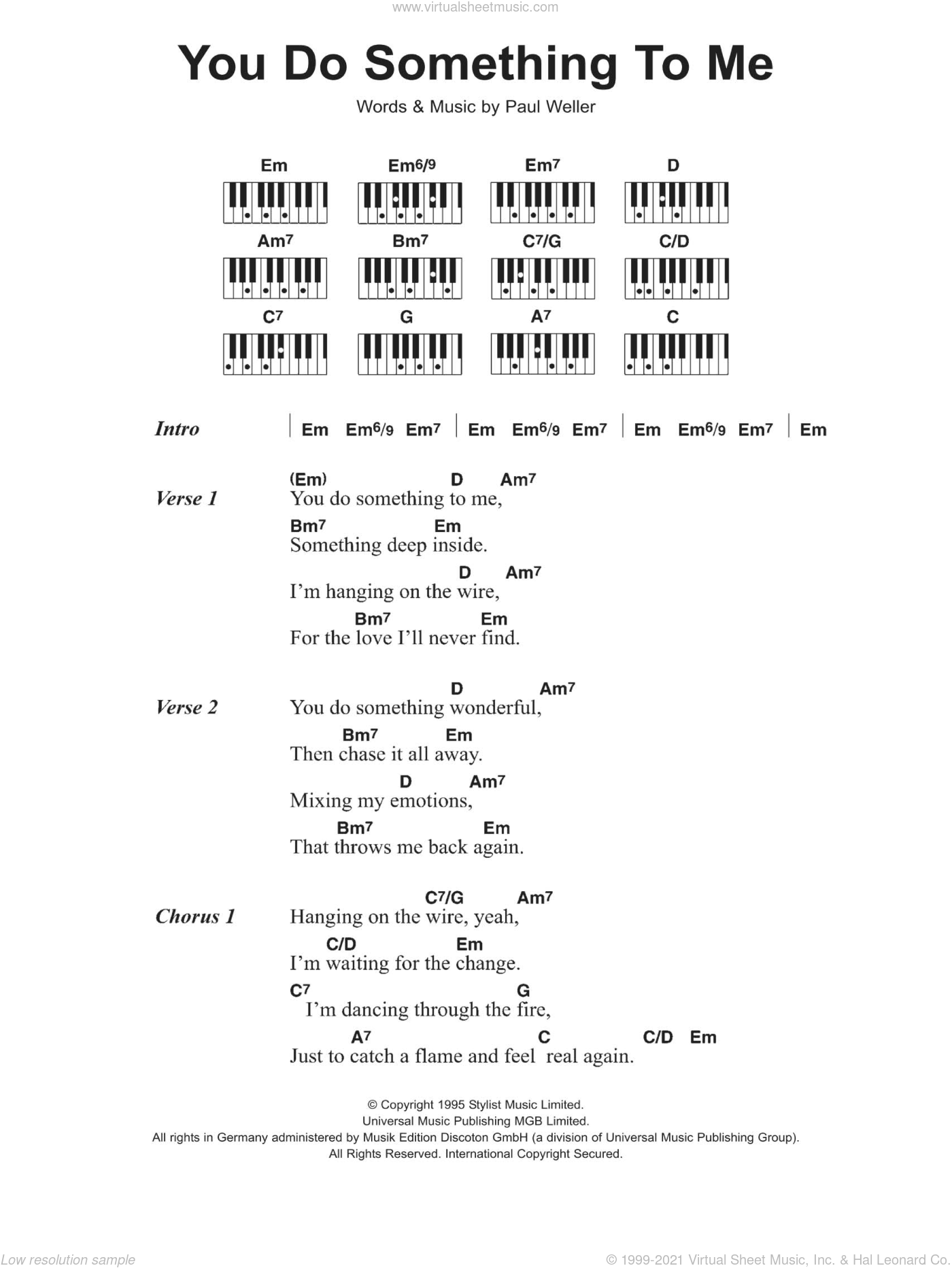 You Do Something To Me sheet music for piano solo (chords, lyrics, melody) by Paul Weller