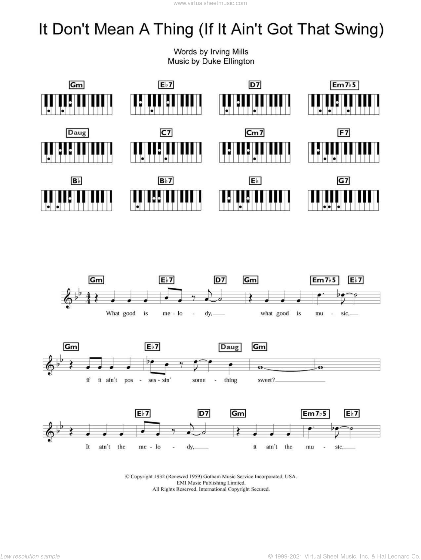 It Don't Mean A Thing (If It Ain't Got That Swing) sheet music for piano solo (chords, lyrics, melody) by Eva Cassidy, Duke Ellington and Irving Mills. Score Image Preview.