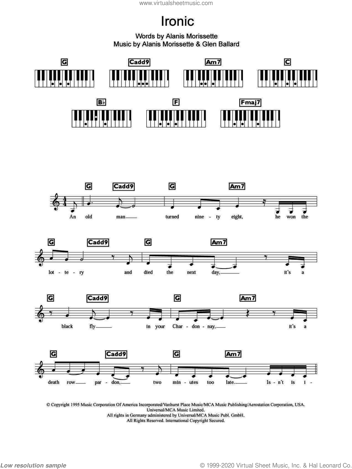 Ironic sheet music for piano solo (chords, lyrics, melody) by Alanis Morissette and Glen Ballard. Score Image Preview.