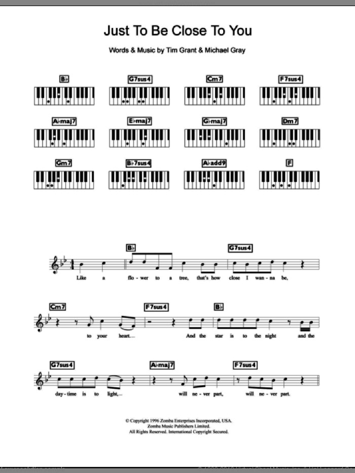Just To Be Close To You sheet music for piano solo (chords, lyrics, melody) by Backstreet Boys, Michael Gray and Tim Grant, intermediate piano (chords, lyrics, melody)