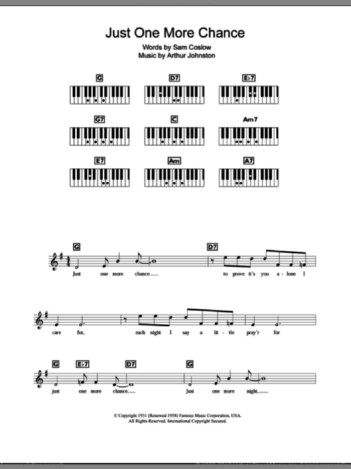 Just One More Chance sheet music for piano solo (chords, lyrics, melody) by Sam Coslow, Bing Crosby and Arthur Johnston. Score Image Preview.