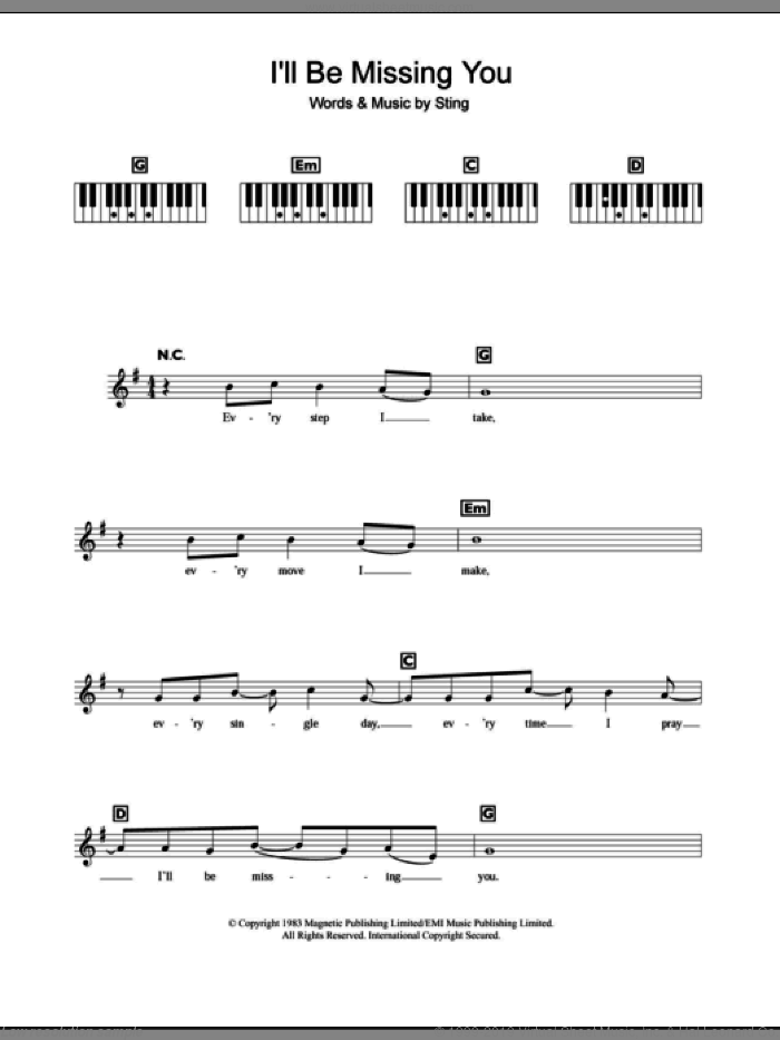 I'll Be Missing You sheet music for piano solo (chords, lyrics, melody) by Faith Evans, Puff Daddy and Sting, intermediate piano (chords, lyrics, melody)