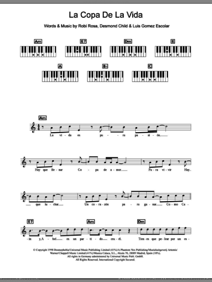 La Copa De La Vida (The Cup Of Life) sheet music for piano solo (chords, lyrics, melody) by Ricky Martin, Desmond Child, Luis Gomez Escolar and Robi Rosa, intermediate piano (chords, lyrics, melody). Score Image Preview.