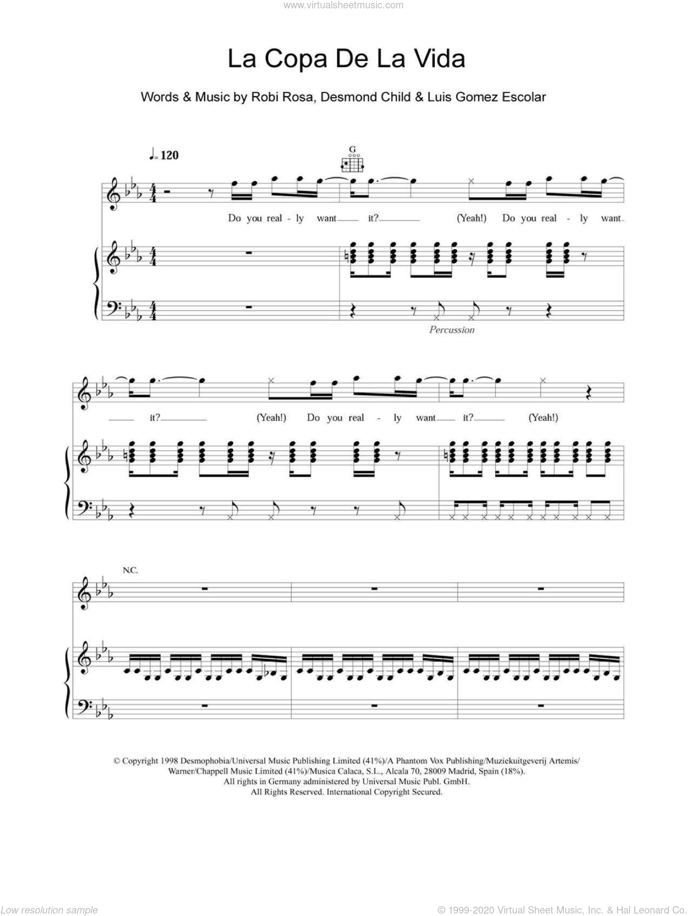 La Copa De La Vida (The Cup Of Life) sheet music for voice, piano or guitar by Robi Rosa, Ricky Martin, Desmond Child and Luis Gomez Escolar. Score Image Preview.