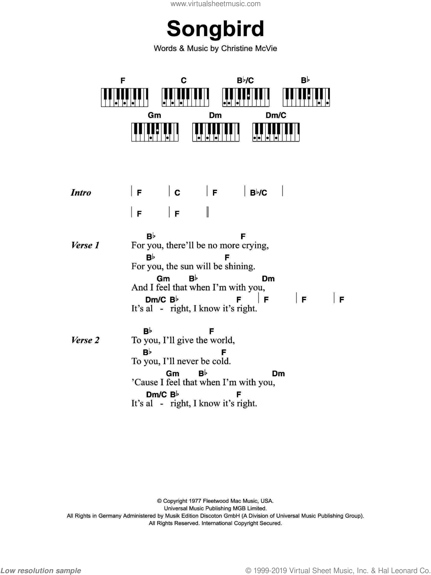 Songbird sheet music for piano solo (chords, lyrics, melody) by Fleetwood Mac and Eva Cassidy, intermediate piano (chords, lyrics, melody). Score Image Preview.