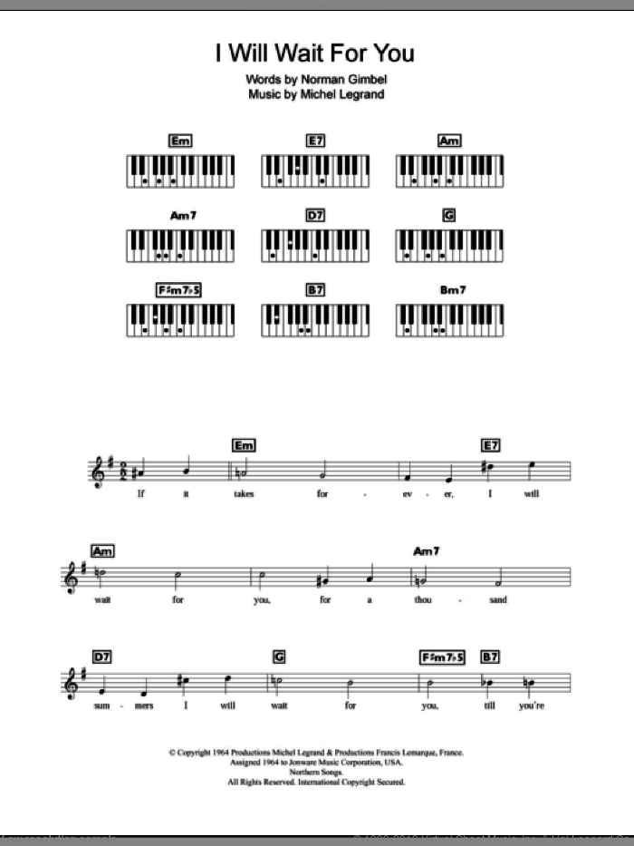 I Will Wait For You sheet music for piano solo (chords, lyrics, melody) by Michel LeGrand and Norman Gimbel, intermediate piano (chords, lyrics, melody)